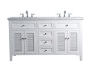 Genevieve 60 Inches White Double Vanity Cabinet w/ Shutter Double Doors Dual Bathroom Sinks