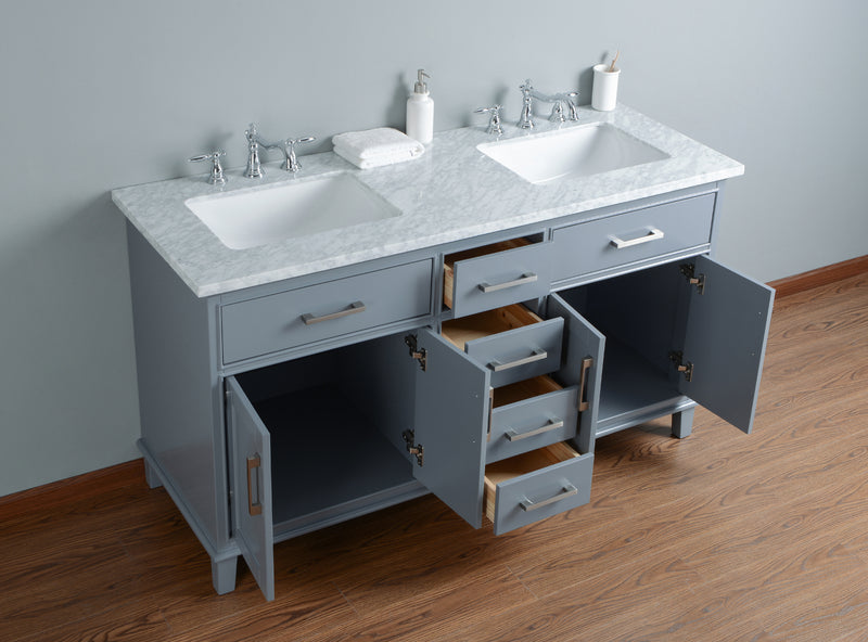 Leigh 60 Inches Grey Double Sink Bathroom Vanity