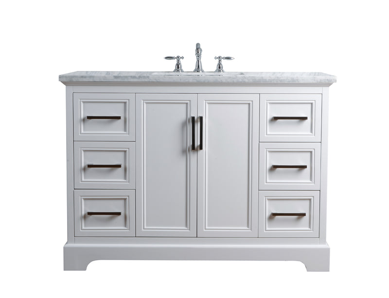 Ariane 48 Inches White Single Vanity Cabinet Single Bathroom Sink