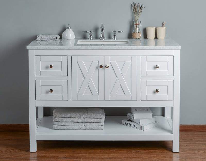 Anabelle 48 Inches White Single Sink Bathroom Vanity