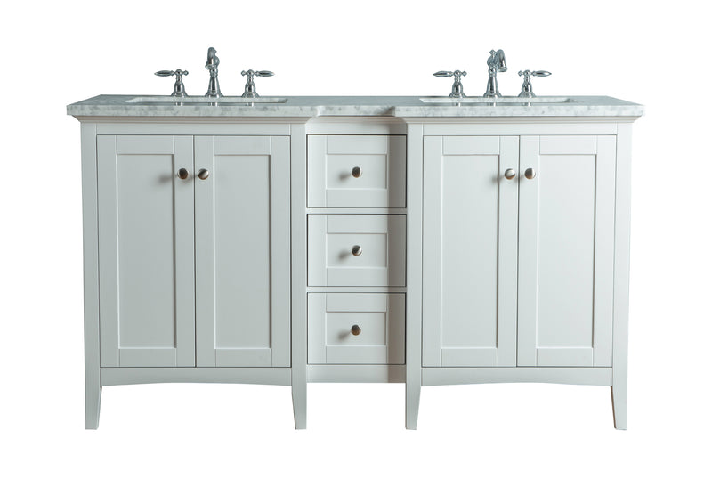 Tower Modern 60 Inches White Double Sink Bathroom Vanity