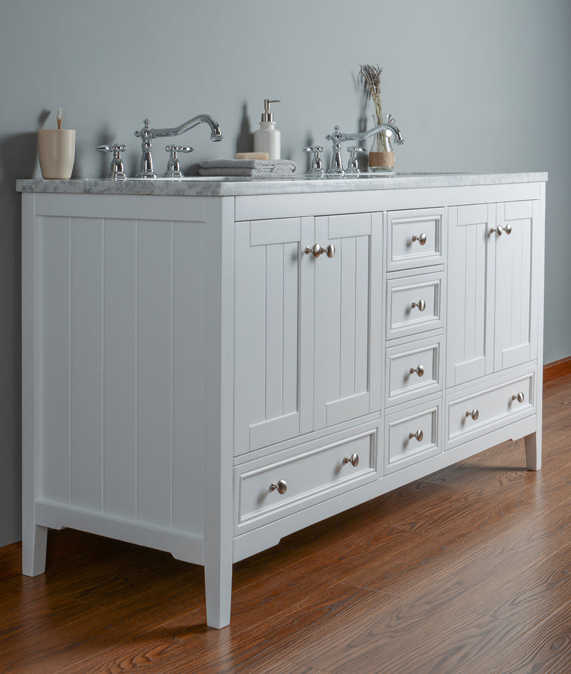 New Yorker 60 Inches White Double Sink Bathroom Vanity