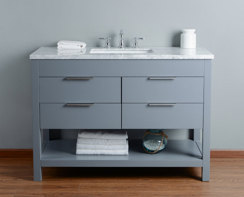 Rochester 48 Inches Grey Single Sink Bathroom Vanity