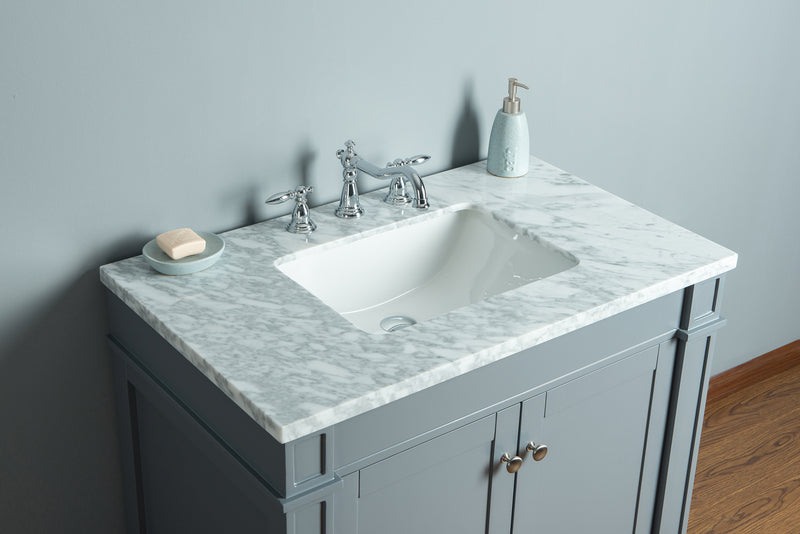 Seine 36 Inches Grey Single Sink Bathroom Vanity