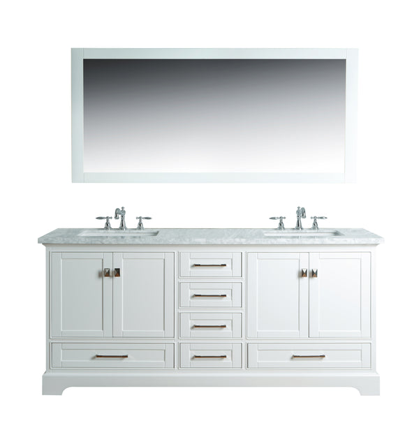 Newport White 72 inch Double Sink Bathroom Vanity with Mirror