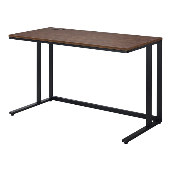 Nillaine Writing Desk with USB Port in Walnut and Black/Light Oak and White