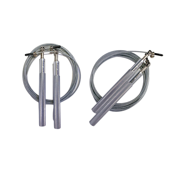 Glowy Sports Adjustable Height Steel Jump Rope in Silver, Set of 2