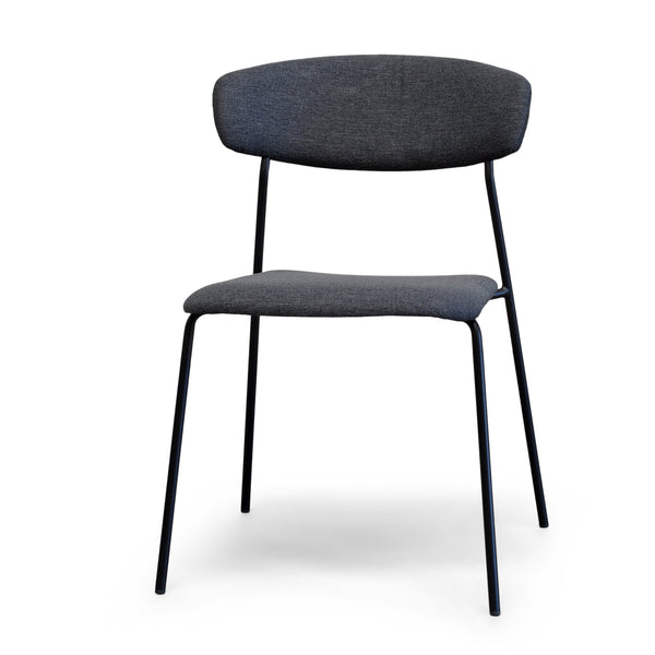 Lucy Dark Grey Modern Dining Chair with Matte Black Steel Legs for Kitchen, Living Room and Dining Room (Set of 2, Upholstered Seat)
