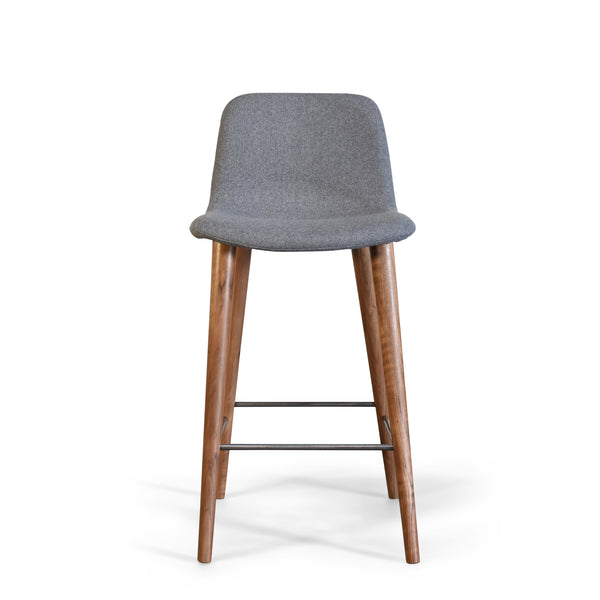 Mackay Grey Counter Stool with Walnut Wood Legs (PolYester Upholstered Seat)