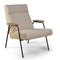 Melbourne Modern Mid Century Lounge Chair with Walnut Wood Armrests and Black Steel Legs (Upholstered Seat)