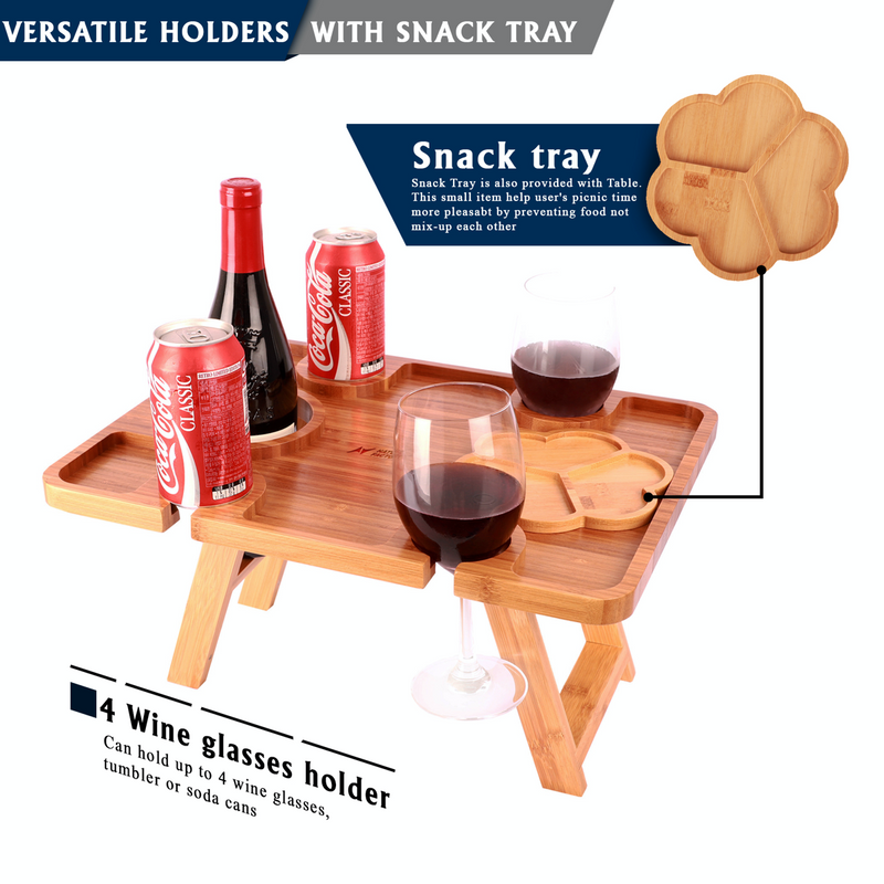 Nature Factory Bamboo Foldable Wine Picnic Table with Glass Holder and Snack Tray
