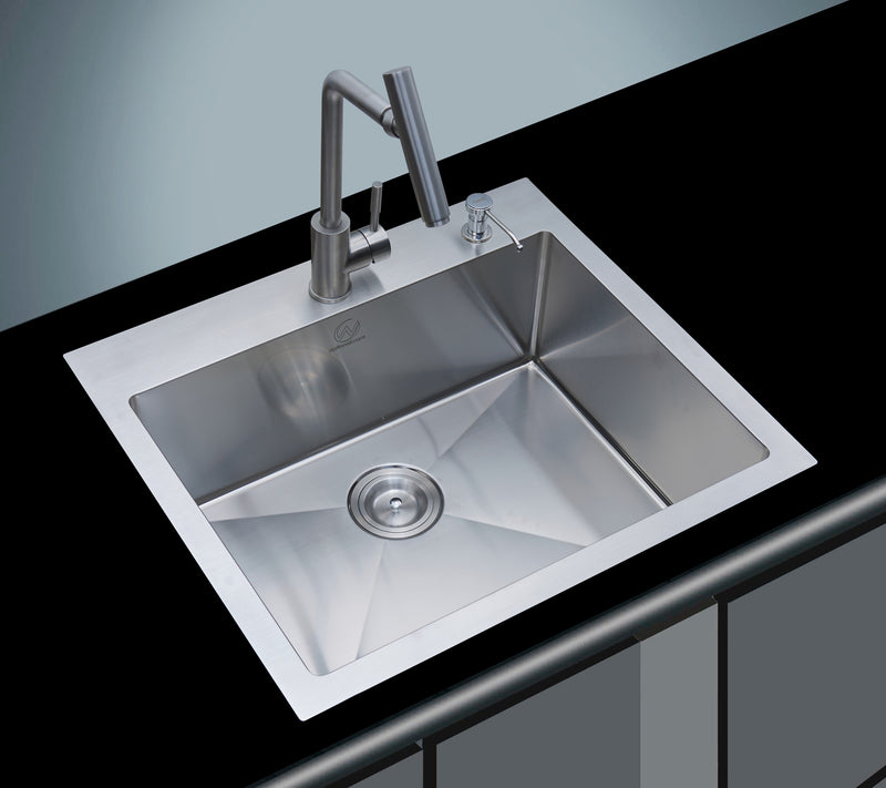 18-gauge Overmount Stainless Steel 25 in. 2-Hole Single Bowl Kitchen Sink