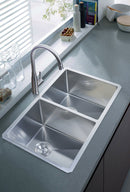 Nationalware Undermount Stainless Steel 33 in. Double Bowl Kitchen Sink