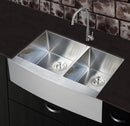 Nationalware Apron/Farmhouse Stainless Steel 33 in. Double Bowl Kitchen Sink