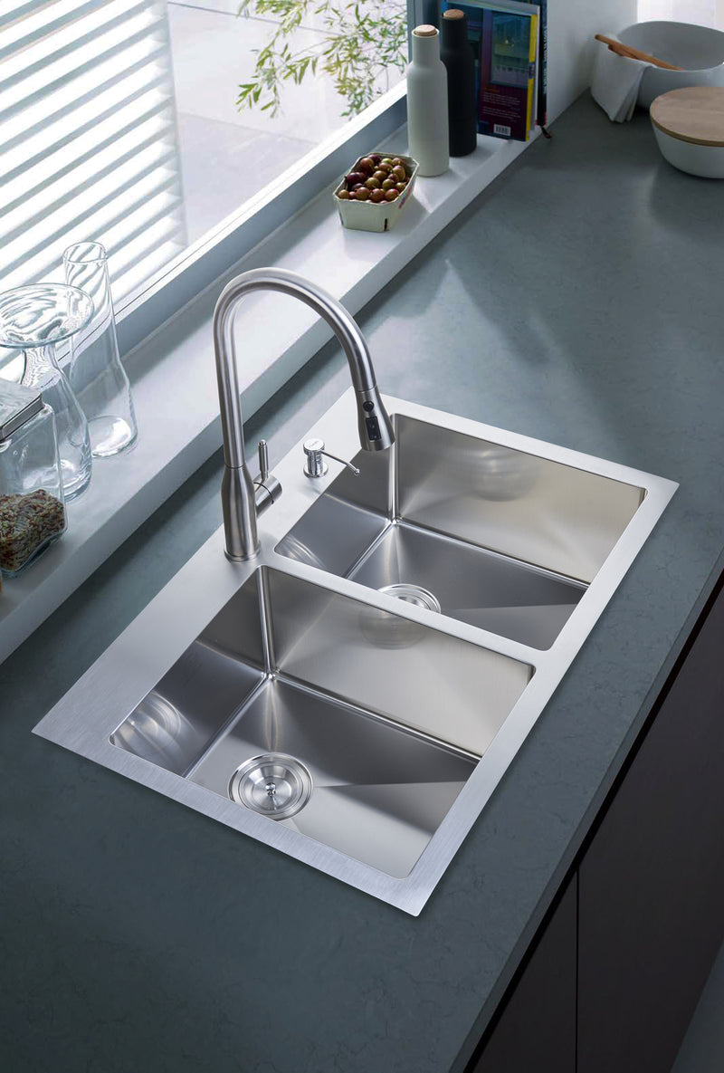 Nationalware Overmount Stainless Steel 33 in. 2-Hole Double Bowl Kitchen Sink