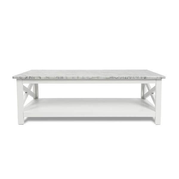 "Agatha 44"" Rectangular Italian Carrara White Marble Coffee Table with white color solid wood Leg"