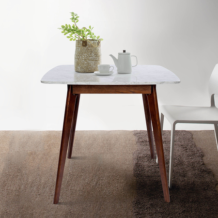 "Senna 31"" White Marble Table-Walnut"