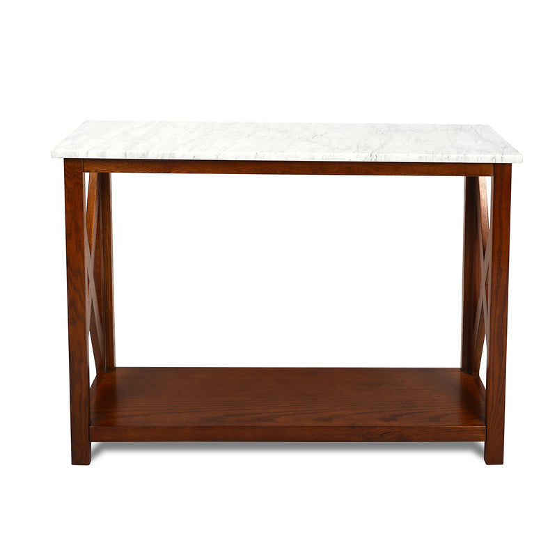 "Agatha 39"" Rectangular Italian Carrara White Marble Console Table with solid wood Legs"