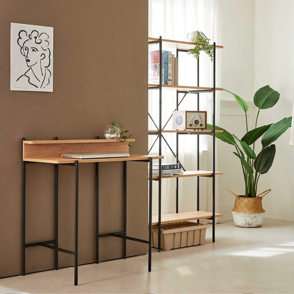 "Querencia 34""H Study / Writing Desk with Acacia Top and Steel Legs"