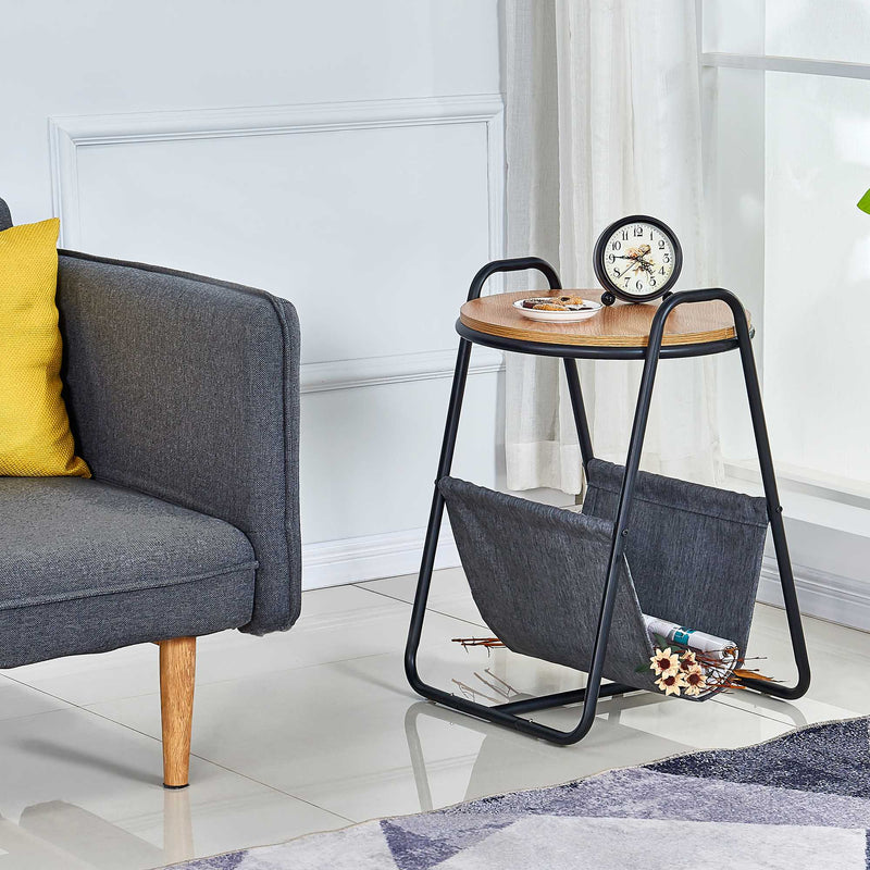 Querencia Round Side Table with Fabric Storage for Living Room