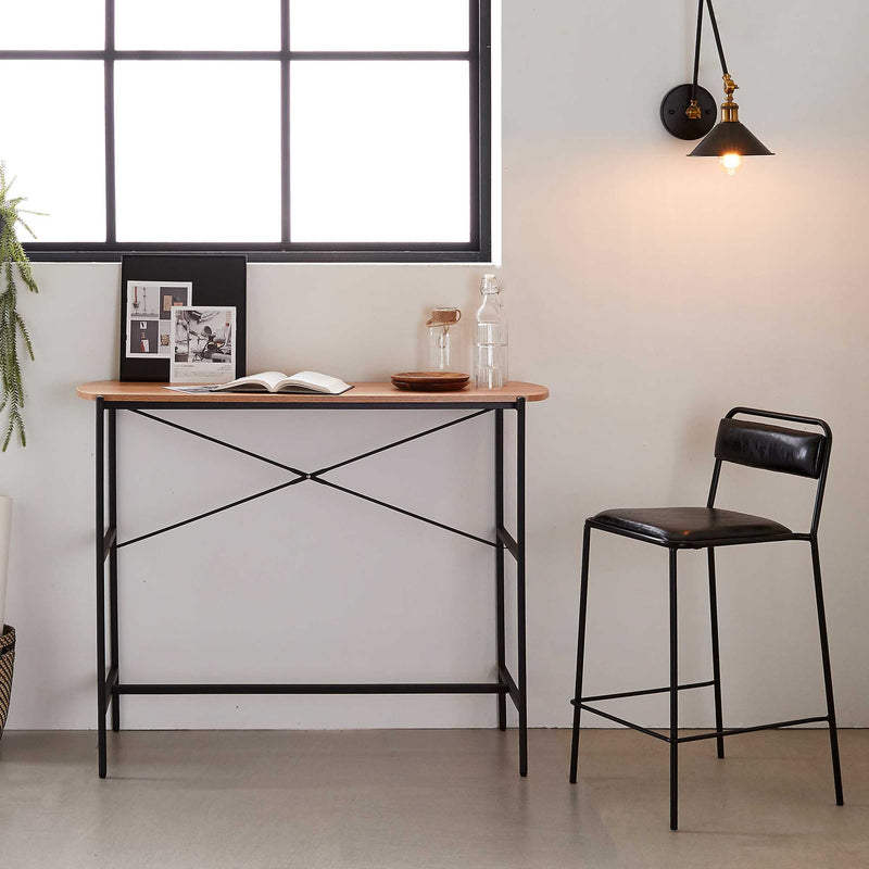 "Querencia 47""x17""x36"" Bar Table with Acacia Top and Steel Legs"