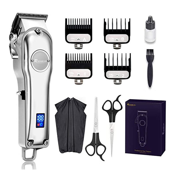 Rainbean Professional LED Displayed Cordless Hair Trimmer Set with Grooming Kit