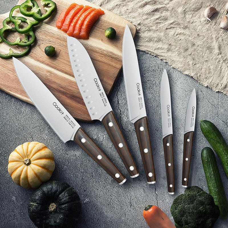 Cookit 15-Piece Wooden Handle Kitchen Chef Knives Set with Wooden Block Holder and Manual Sharpener