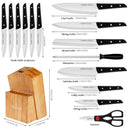 Cookit 15-Piece ABS Handle Kitchen Chef Knives Set with Pine Block Holder and Manual Sharpener
