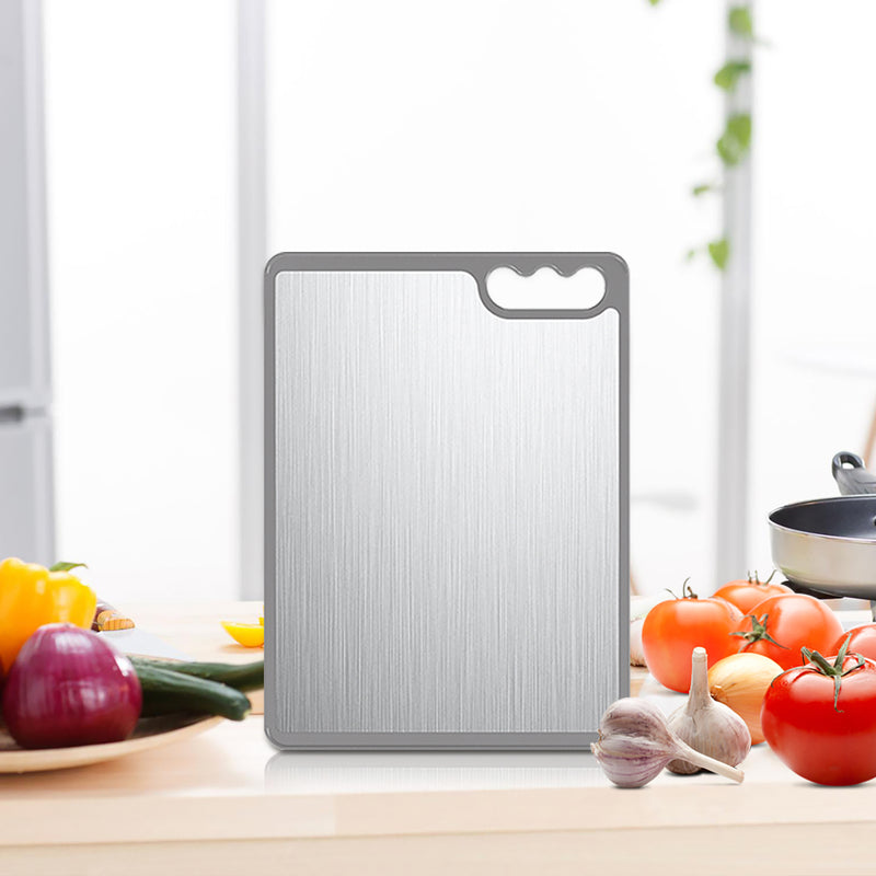 Cookit Large Reversible Stainless Steel and Plastic Cutting Board