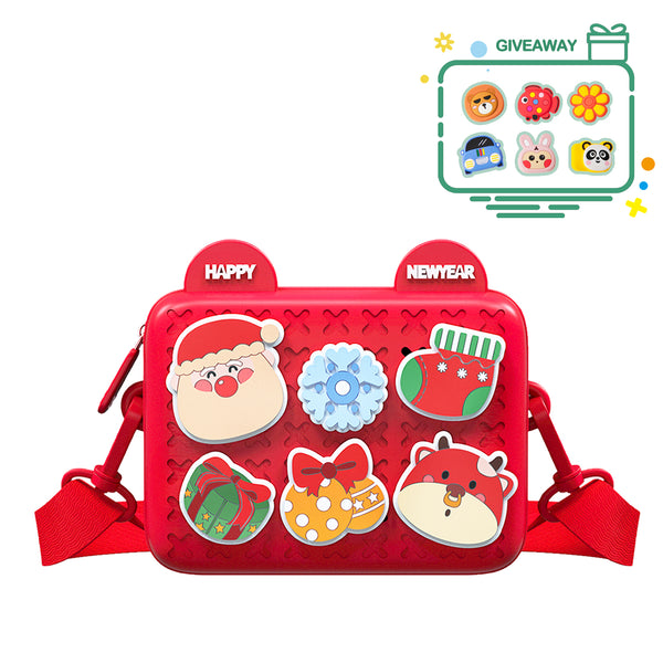Rainbean Cute Soft Christmas Toddler Bag Purse in Red