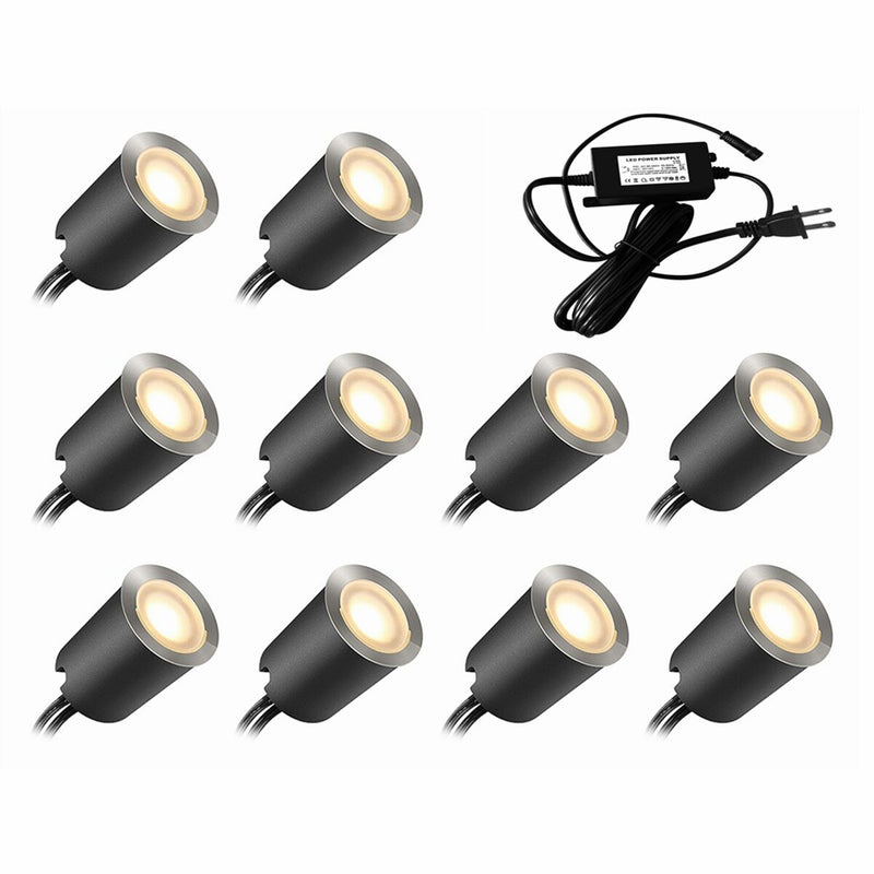 12V Low Voltage IP67 Waterproof Recessed LED Deck Light Kits with Protecting Shell for Outdoor Landscape Ground Lighting