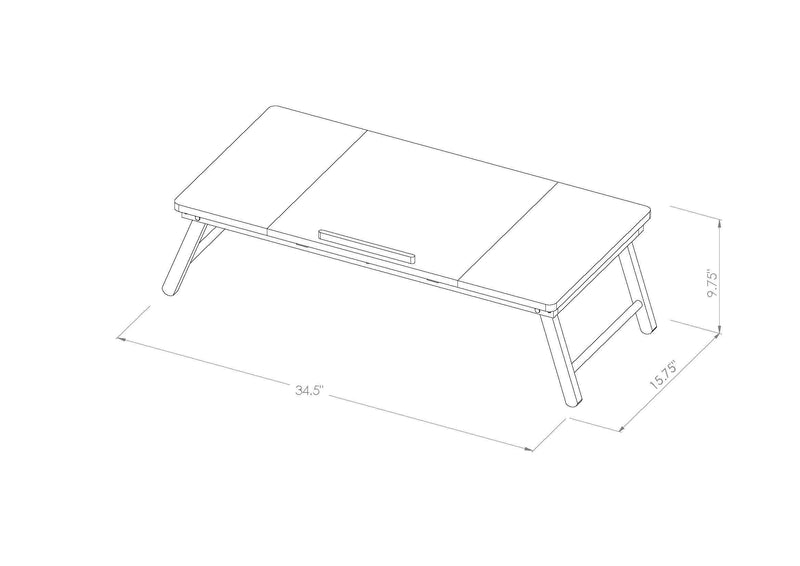 Lada Foldable Laptop Tray with Acacia Top and White Legs