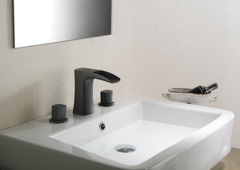Cascade Bathroom Sink Faucet Set in Matte Black