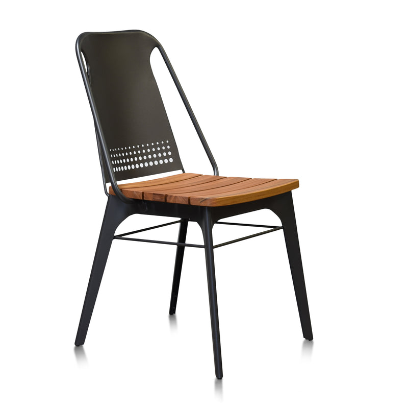 Gingko Strada Steel and Teak Outdoor Dining Chair