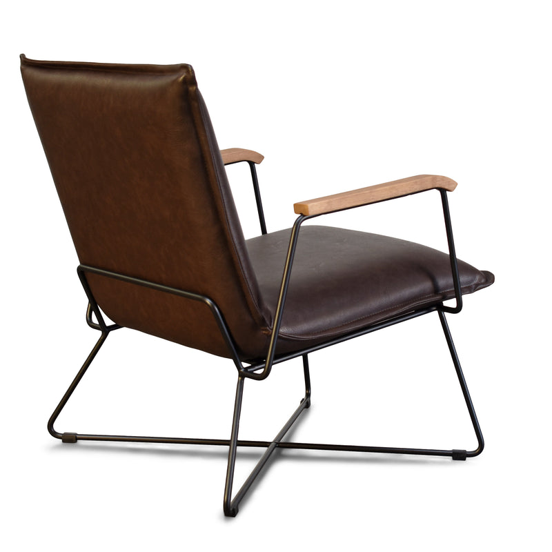 Sydney Brown Modern Lounge Arm Chair with Matte Black Steel Legs (Leather Back & Upholstered Seat)