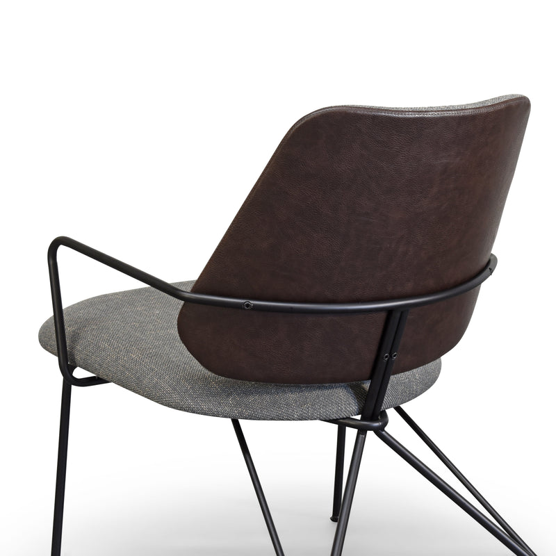 Taylor Modern Lounge Arm Chair with Pewter-toned/Matte Black Steel Legs (Leather Back & Upholstered Seat)