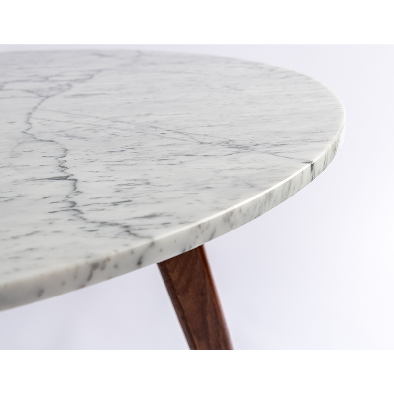"Avella 31"" Round Italian Carrara White Marble Dining Table with Legs"