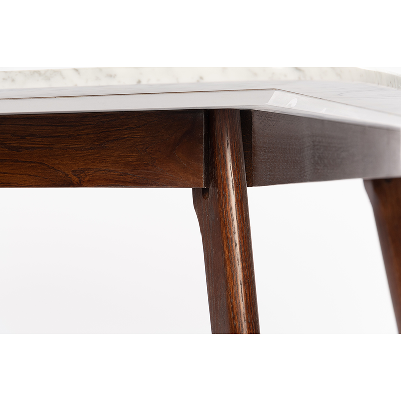 "Avella 39"" White Marble Table-Walnut"