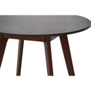 "Avella 31"" Round Italian Carrara Black Marble Dining Table with Walnut Legs"