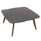 "Vezzana 31"" Square Italian Carrara Black Marble Coffee Table with Walnut Legs"