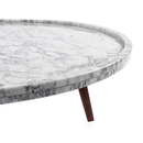 "Cassara 19"" Round Italian Carrara White Marble Side Table with Walnut Legs"