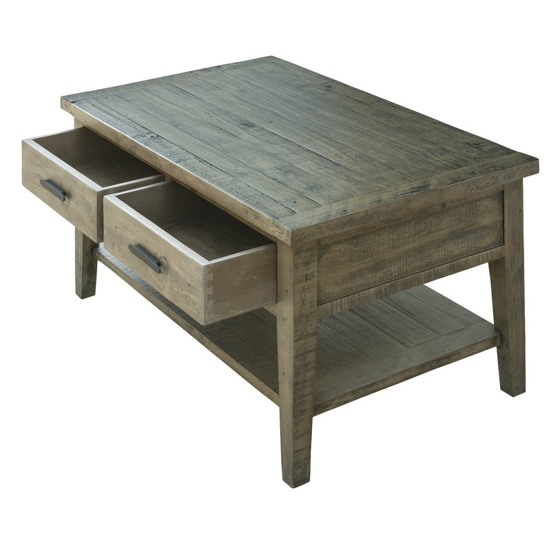 "Ashford 40"" Reclaimed Wood Coffee Table with Storage Shelf and Two Drawers"
