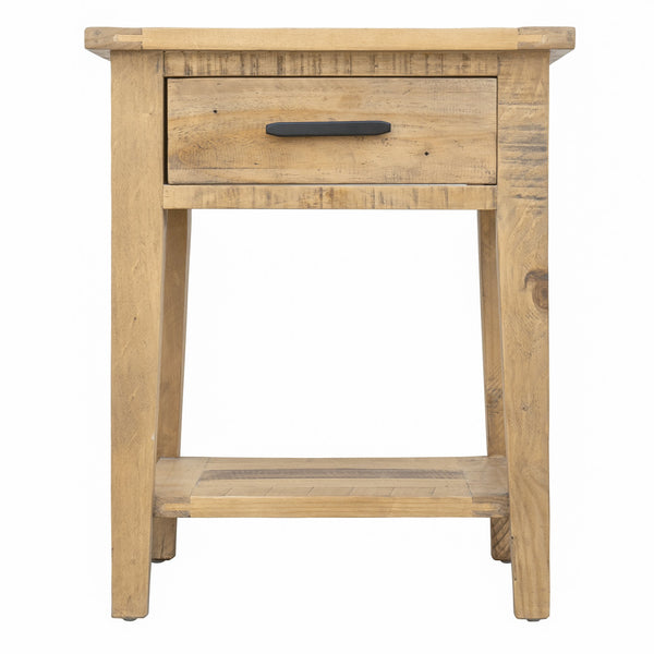 "Ashford 20"" Reclaimed Wood Lamp Table with Storage Shelf and One Drawer"