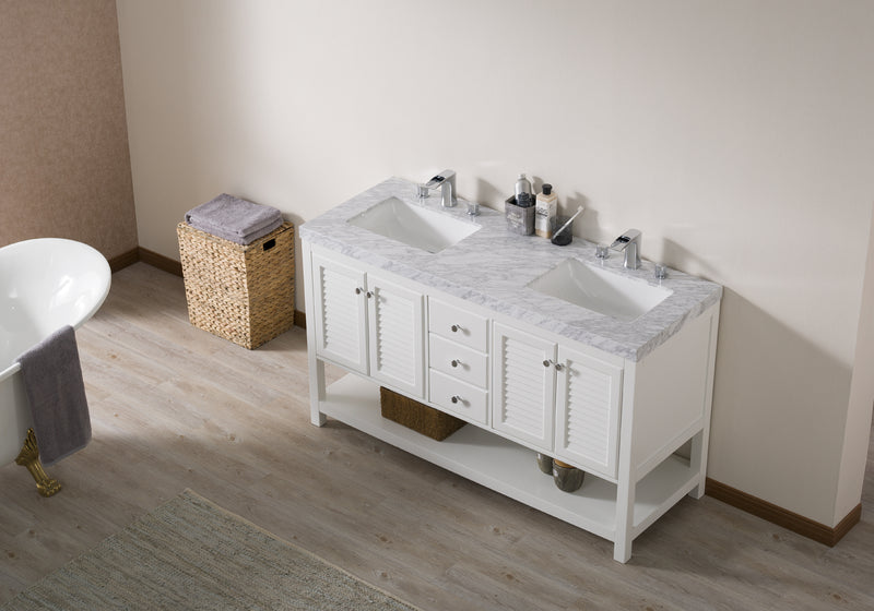 Luthor 60 Inch White Double Sink Bathroom Vanity with Drains and Faucets in Chrome