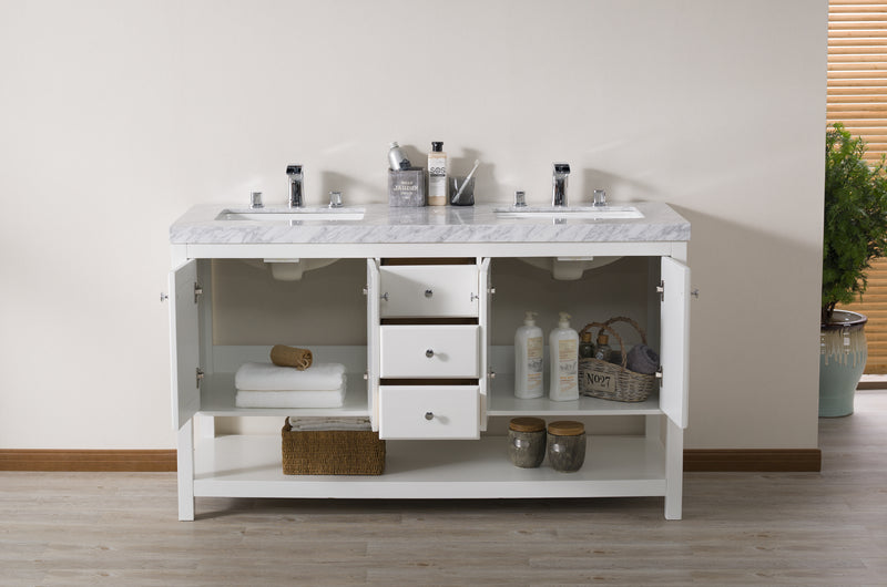 Luthor 60 Inch White Double Sink Bathroom Vanity