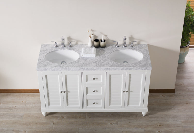 Kent 60 Inch White Double Sink Bathroom Vanity with Drains and Faucets in Chrome