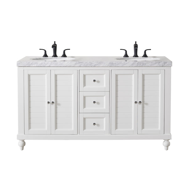 Kent 60 Inch White Double Sink Bathroom Vanity with Drains and Faucets in Matte Black