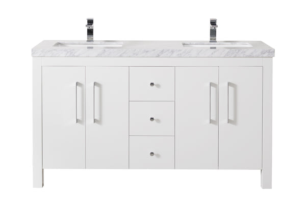Adler 60 Inch White Double Sink Bathroom Vanity with Drains and Faucets in Chrome