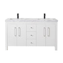 Adler 60 Inch White Double Sink Bathroom Vanity with Drains and Faucets in Matte Black
