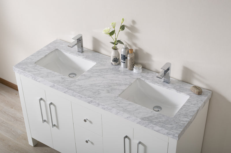 Adler 60 Inch White Double Sink Bathroom Vanity